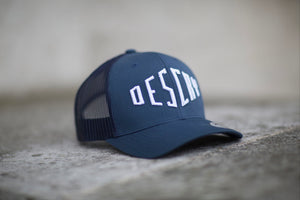 Navy Blue Curved Peak Mesh Trucker