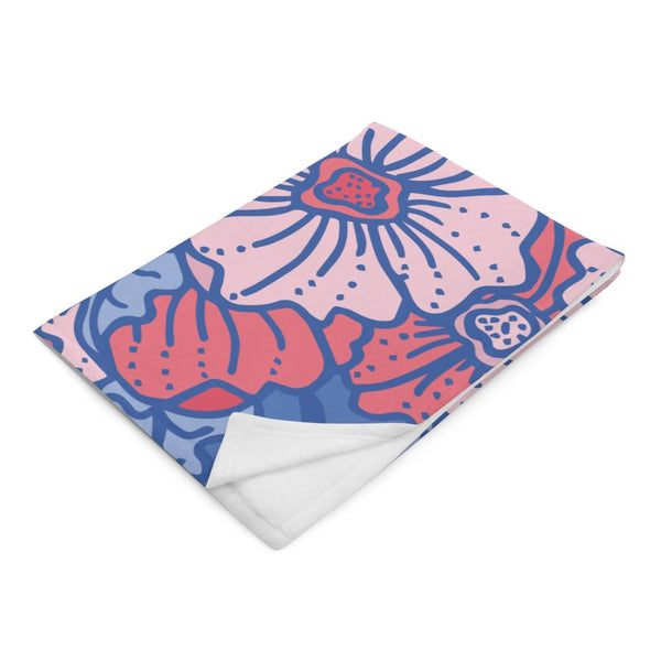 Poppy Blue and Pink Throw Blanket -  - FRIDA VIBES