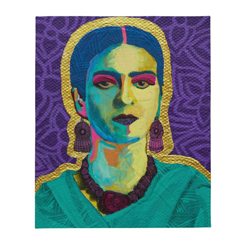 Purple Flowers Throw Blanket -  - FRIDA VIBES