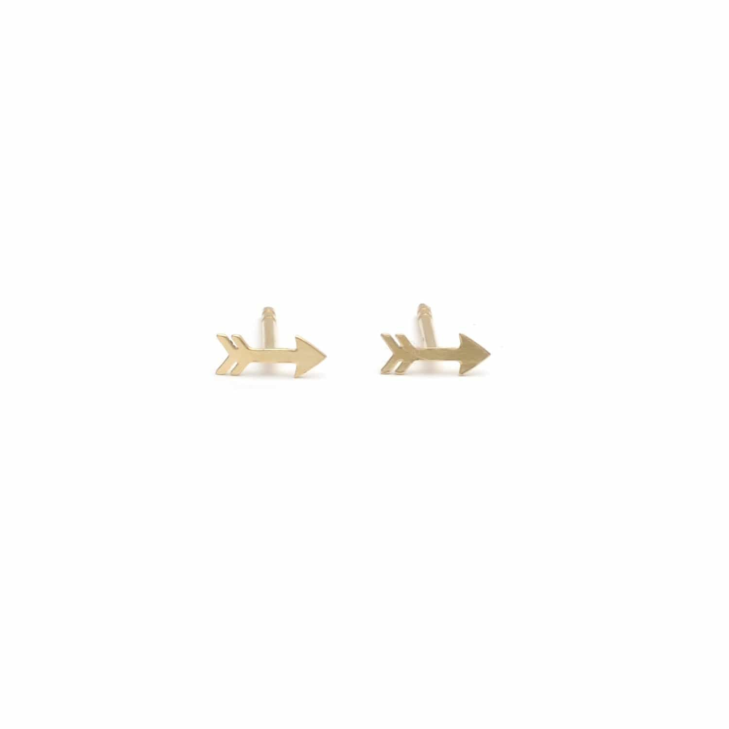 Yellow Gold Mini Arrow Studs