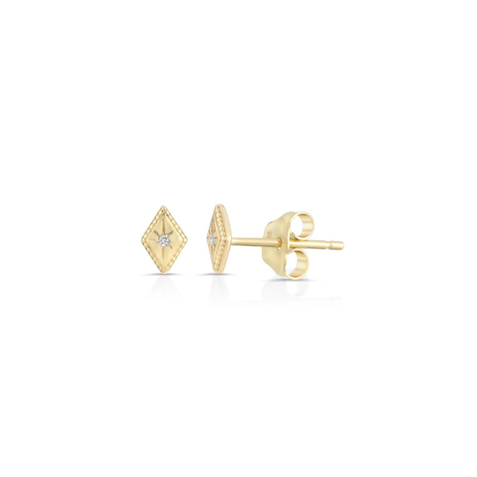 Flat Gold Diamond with Engraved Diamond Starburst Studs