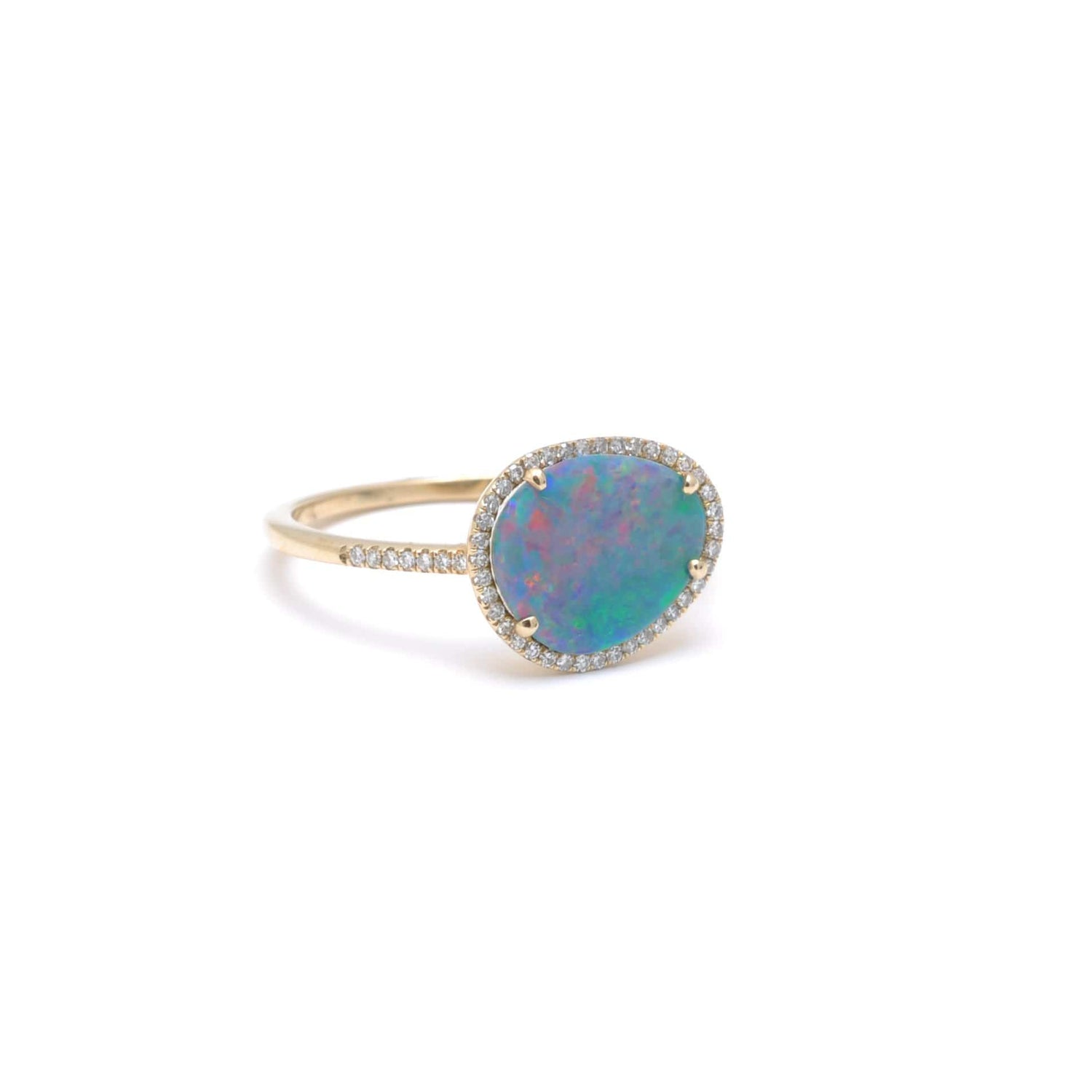 Australian Opal Diamond Pave Halo Ring14K