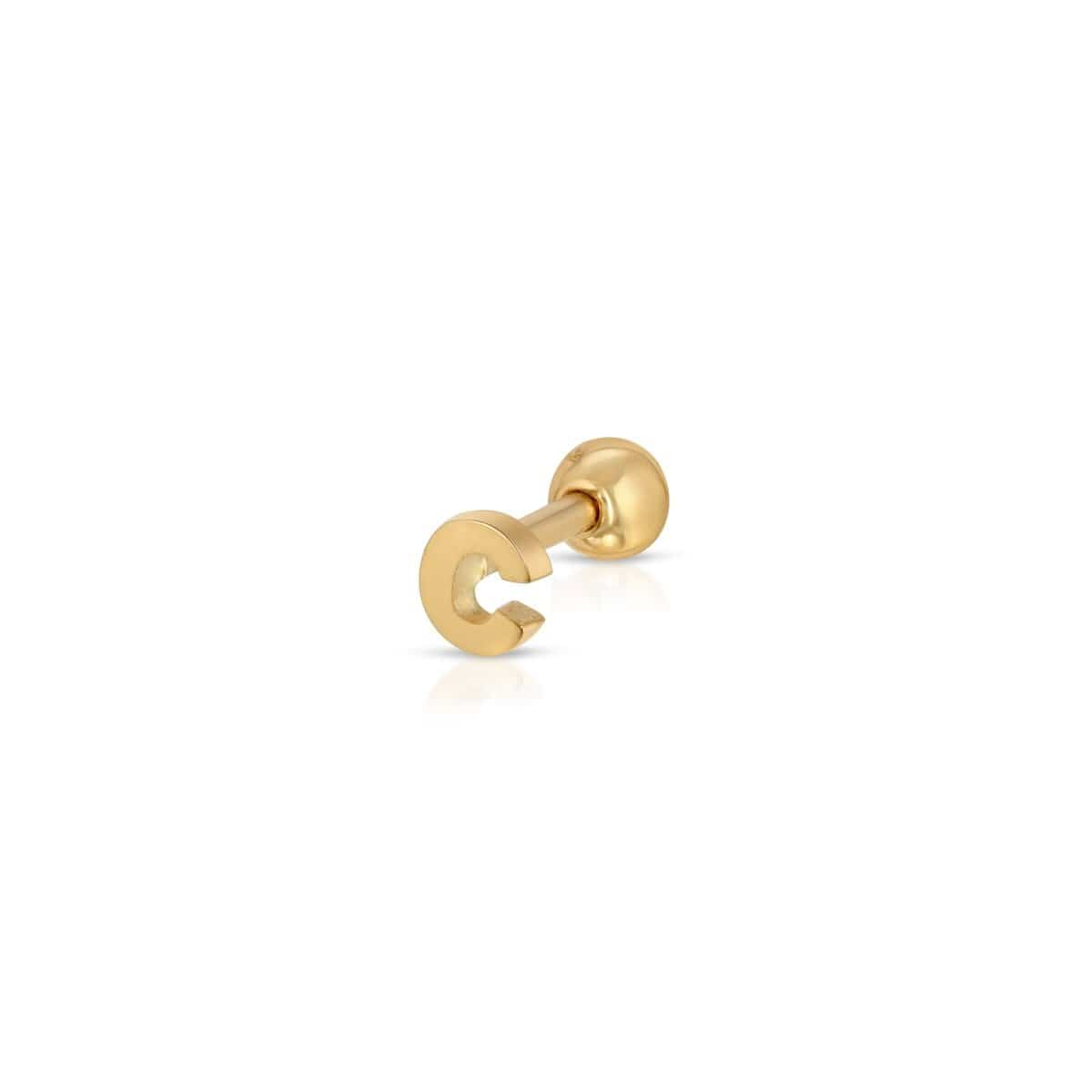 Gold Initial C Screw Back Single Studs