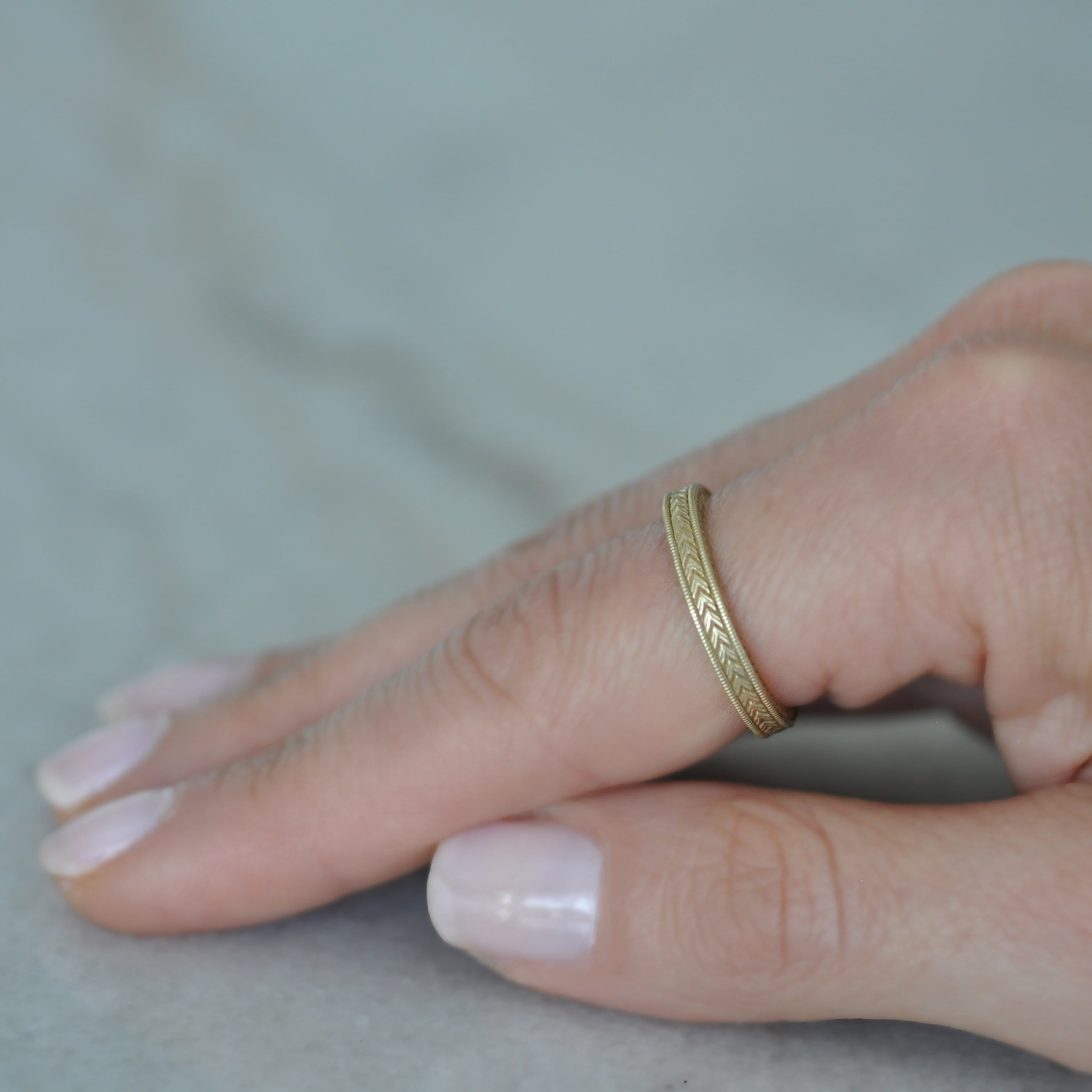 Wheat Engraved Yellow Gold Stacking Ring