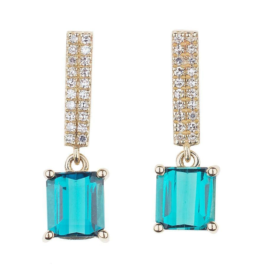 Diamond & Bicolor Blue Green Tourmaline Earrings