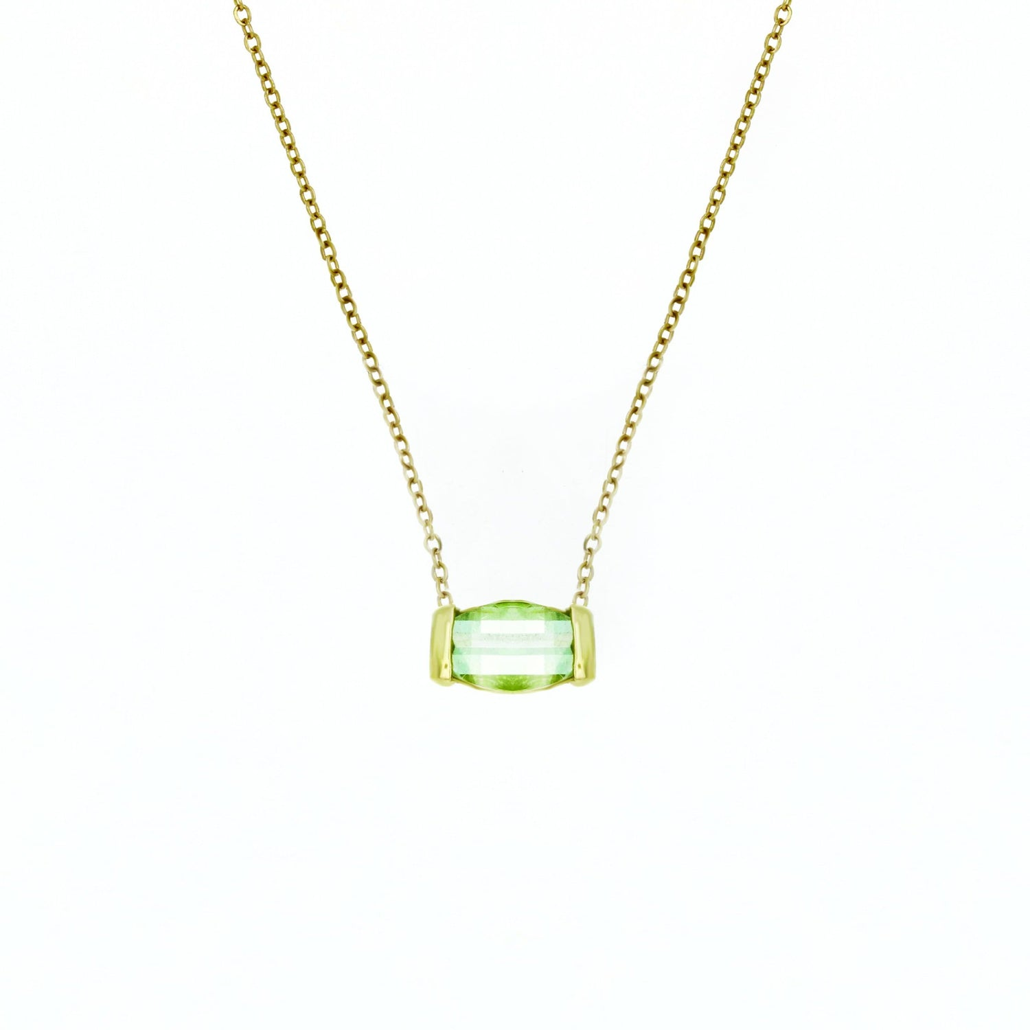 Pastel Green Tourmaline Checkerboard Cut Necklace IO Collective