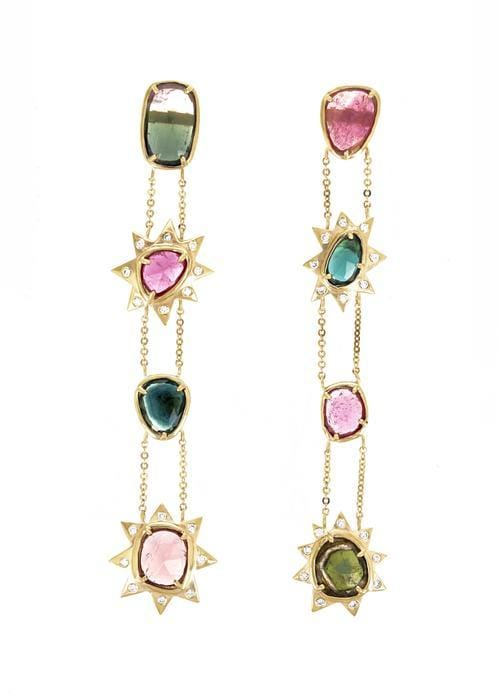 Tourmaline Diamond  Starburst Long Drop Earrings IO Collective