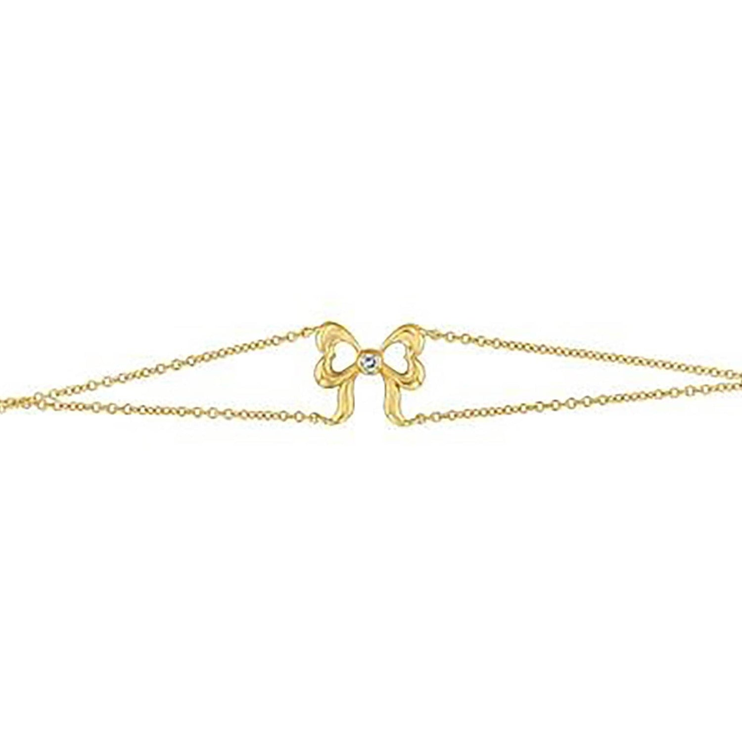 Diamond Bow Double Chain Bracelet