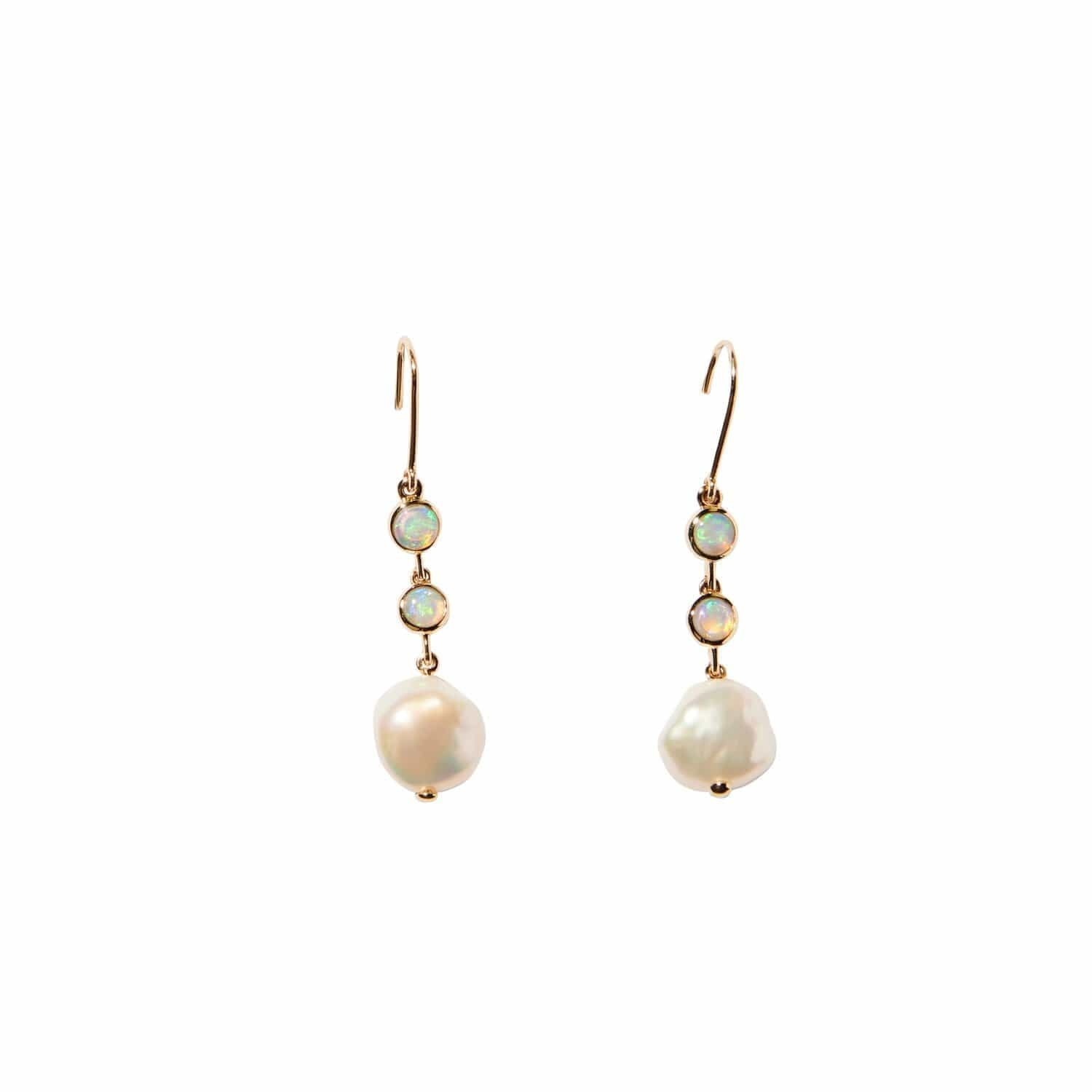Opal and Pearl Drop Earrings