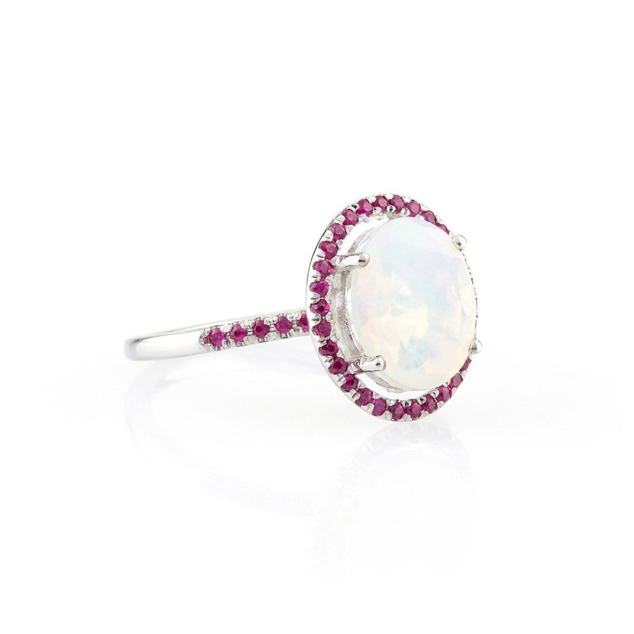 Opal and Ruby Halo Ring