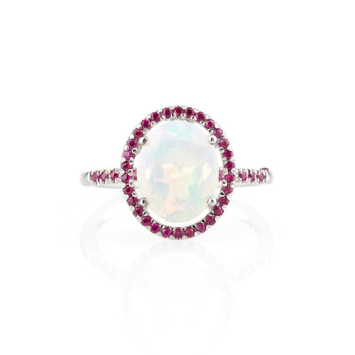 Ethiopian Opal and Ruby Halo Ring