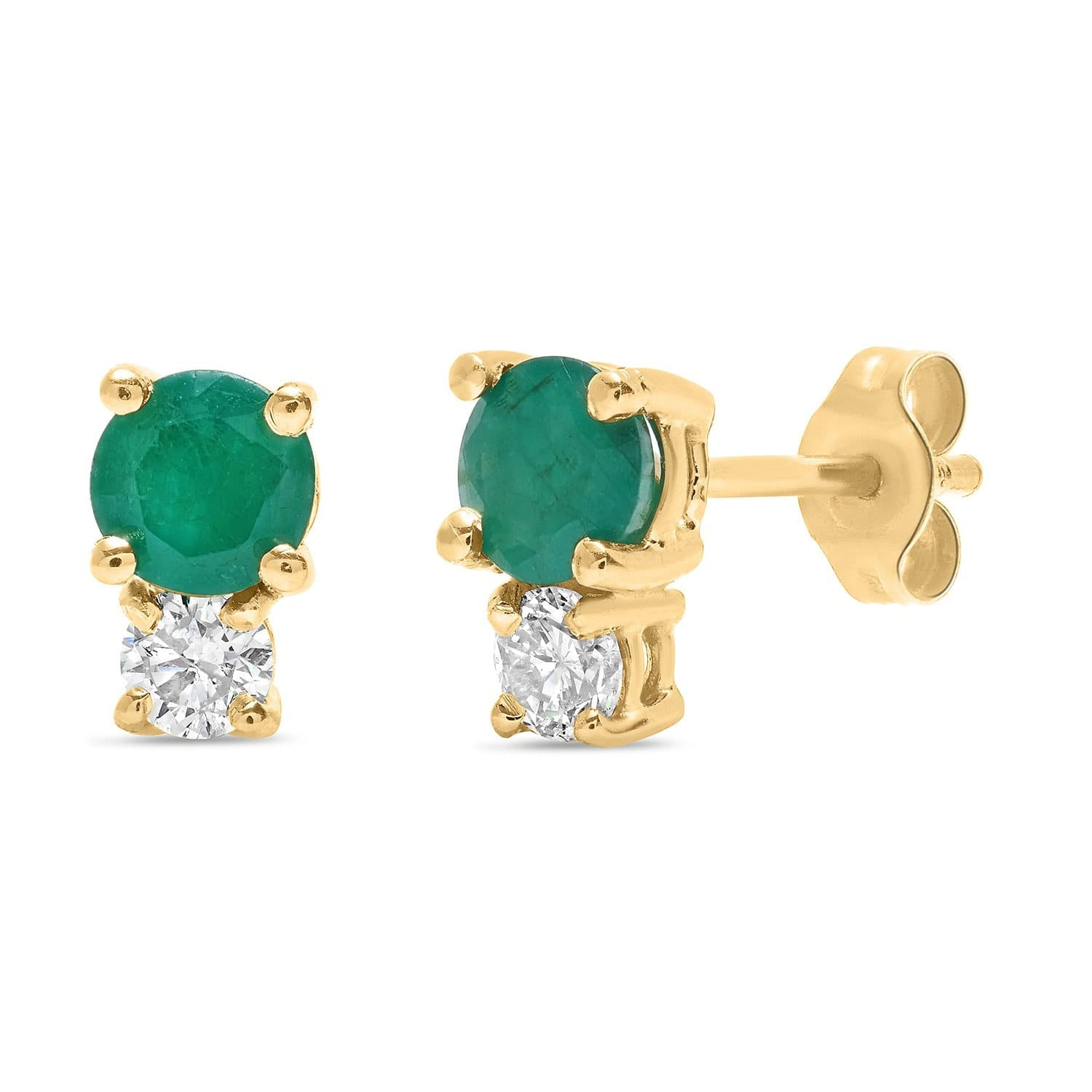 Diamond Emerald Yellow Gold Studs