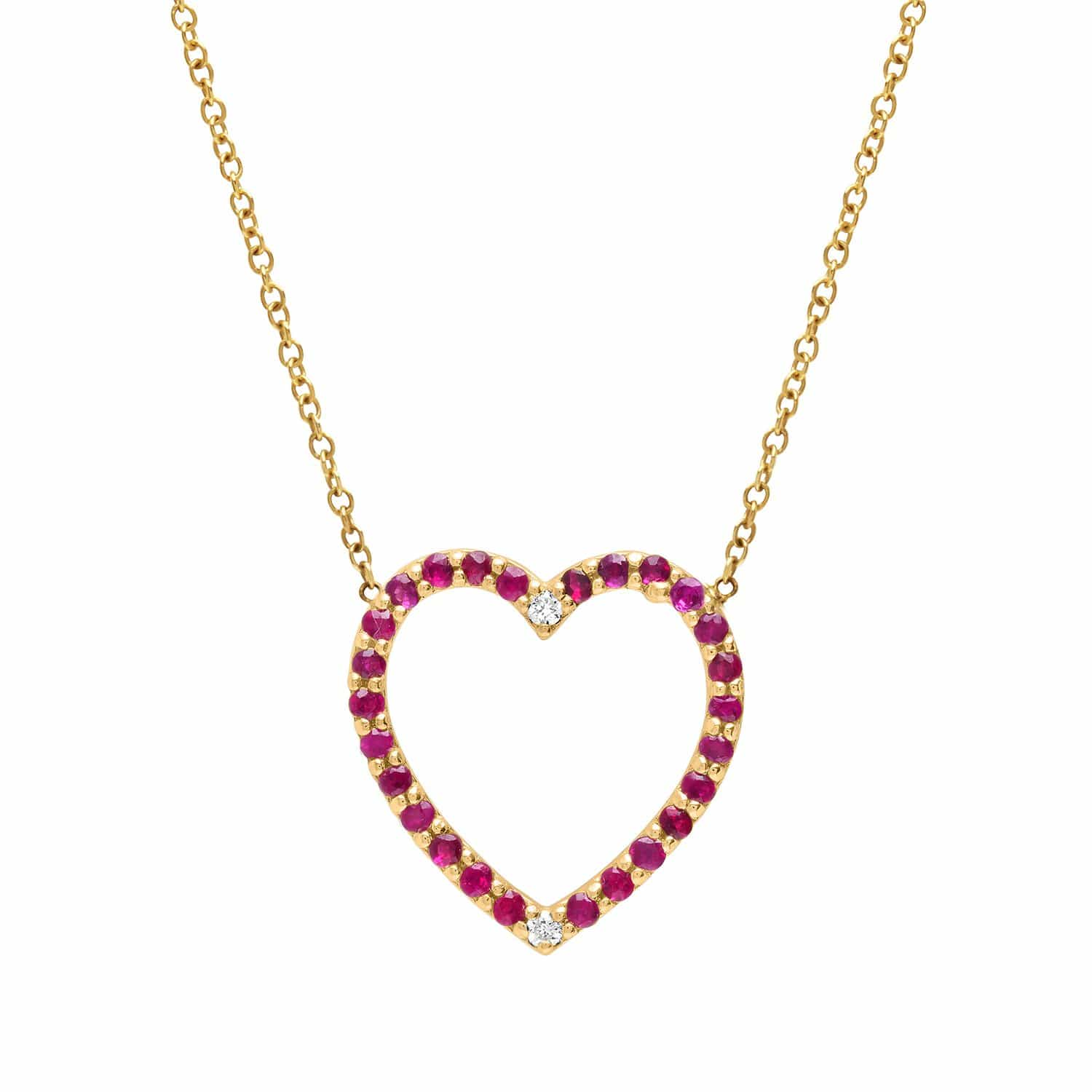 Ruby Pave Two Diamond Heart Necklace
