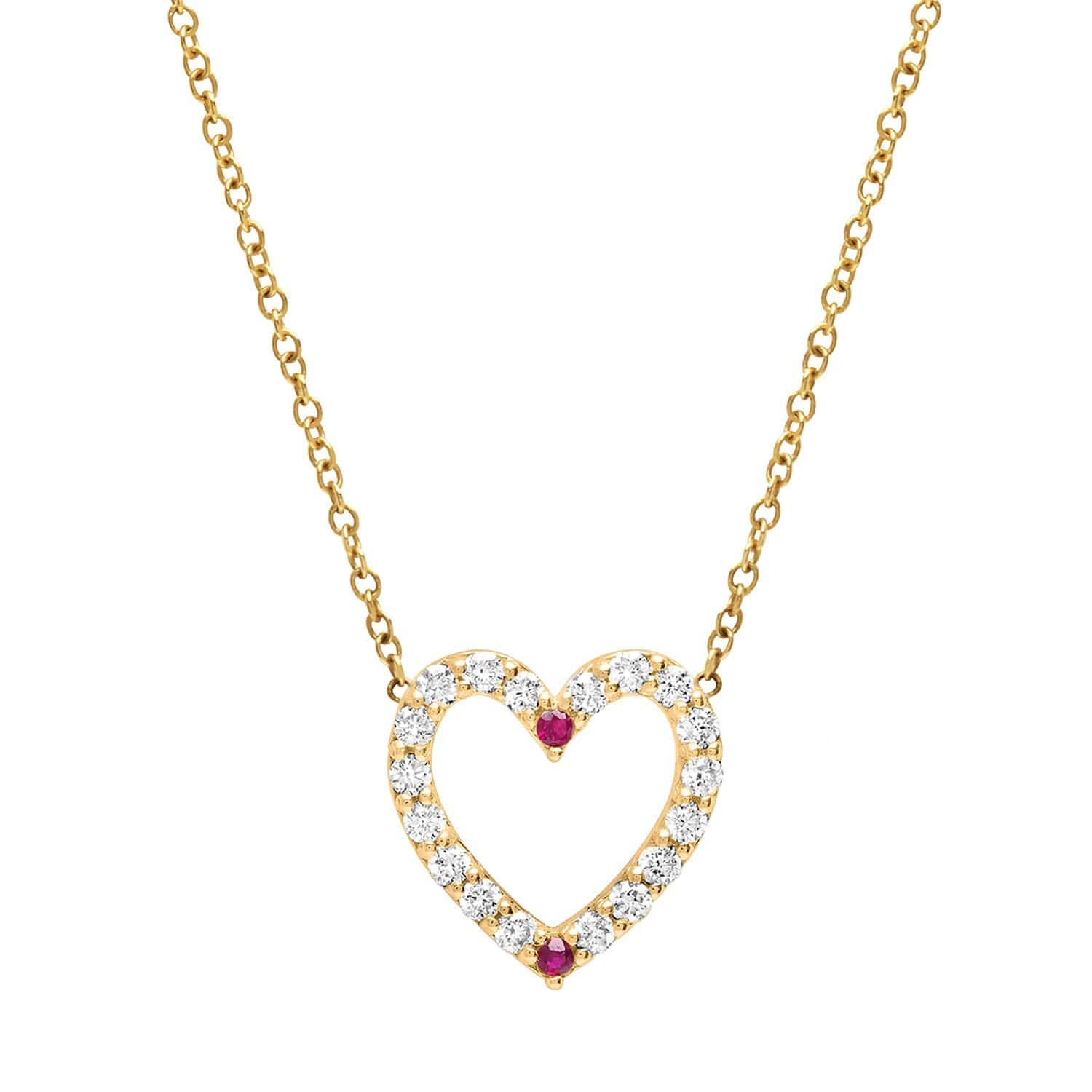 Diamond Pave Two Ruby Heart Necklace