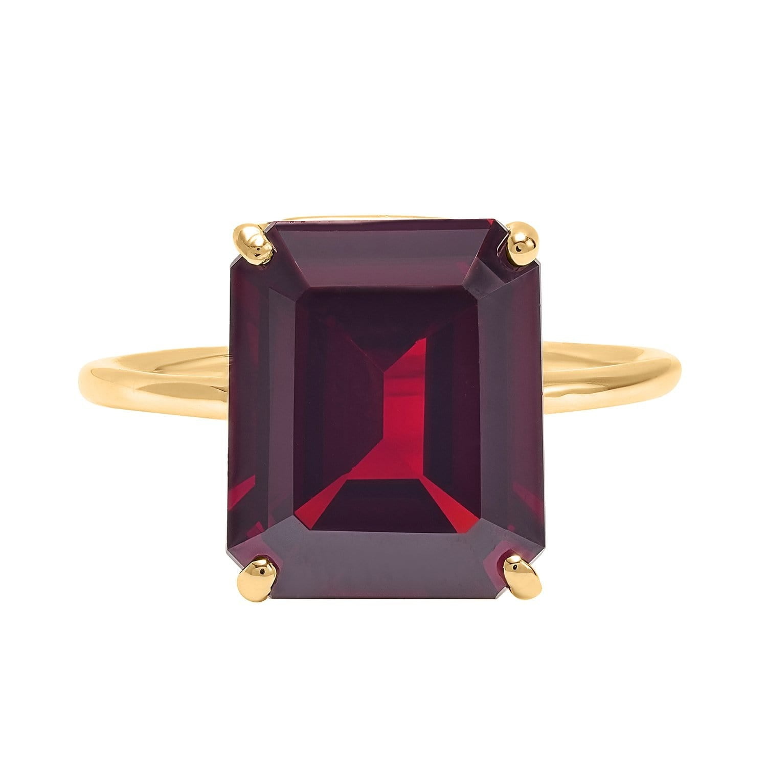 Red Garnet Emerald Cut Gold Cocktail Ring