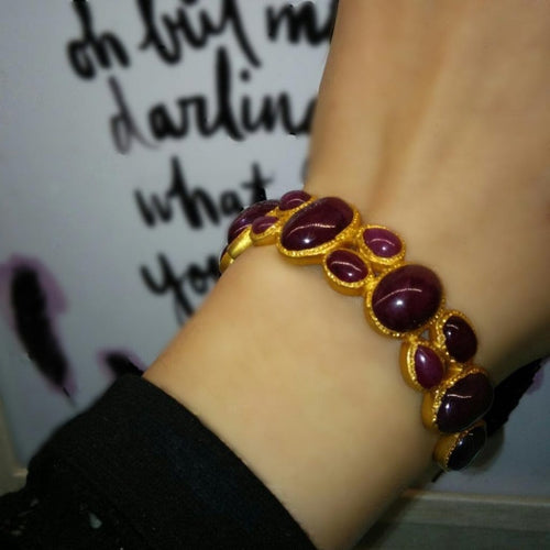 Ruby Cabochon Cuff Bracelet - Curated Los Angeles