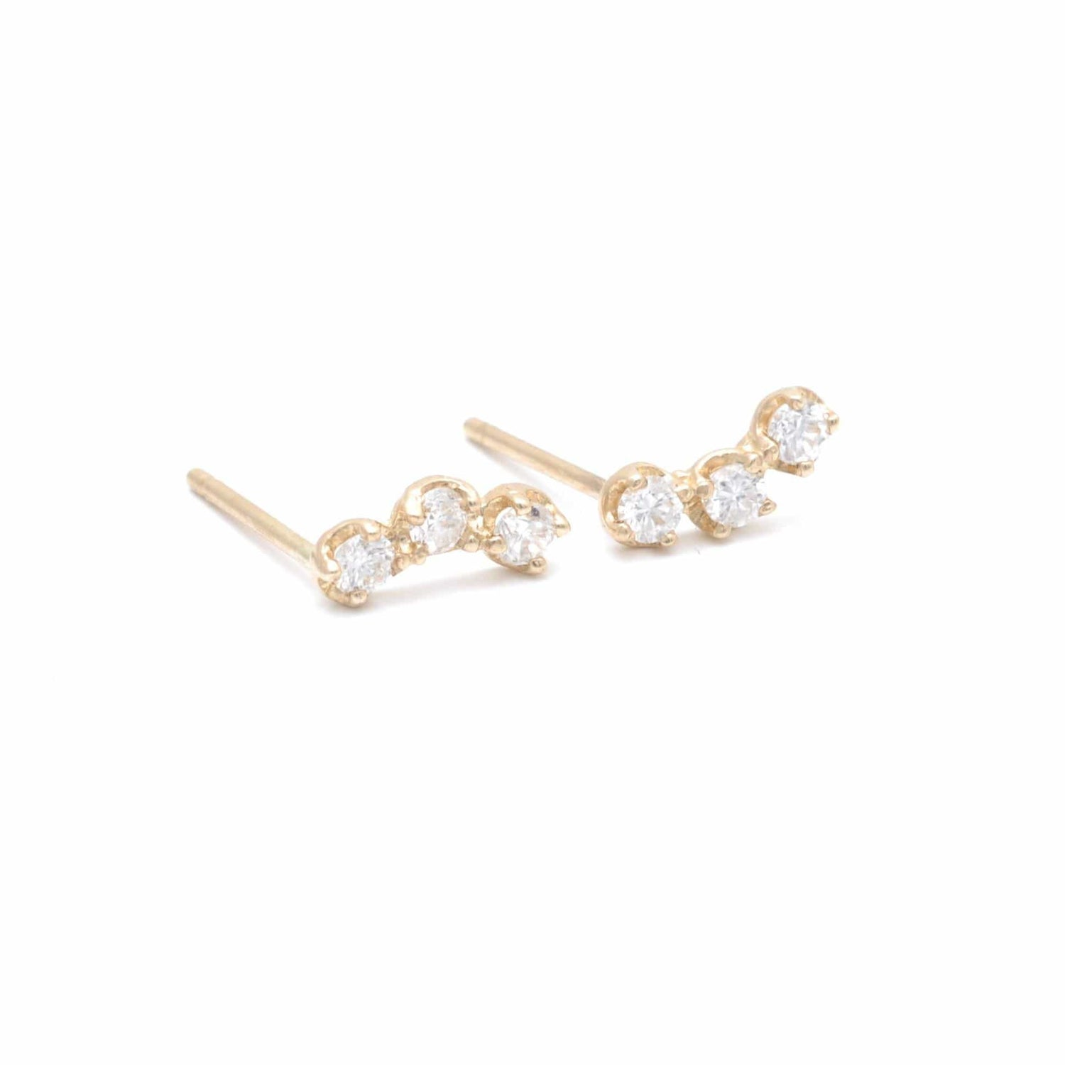 Three Diamond Curved Bar Studs Caitlin Nicole