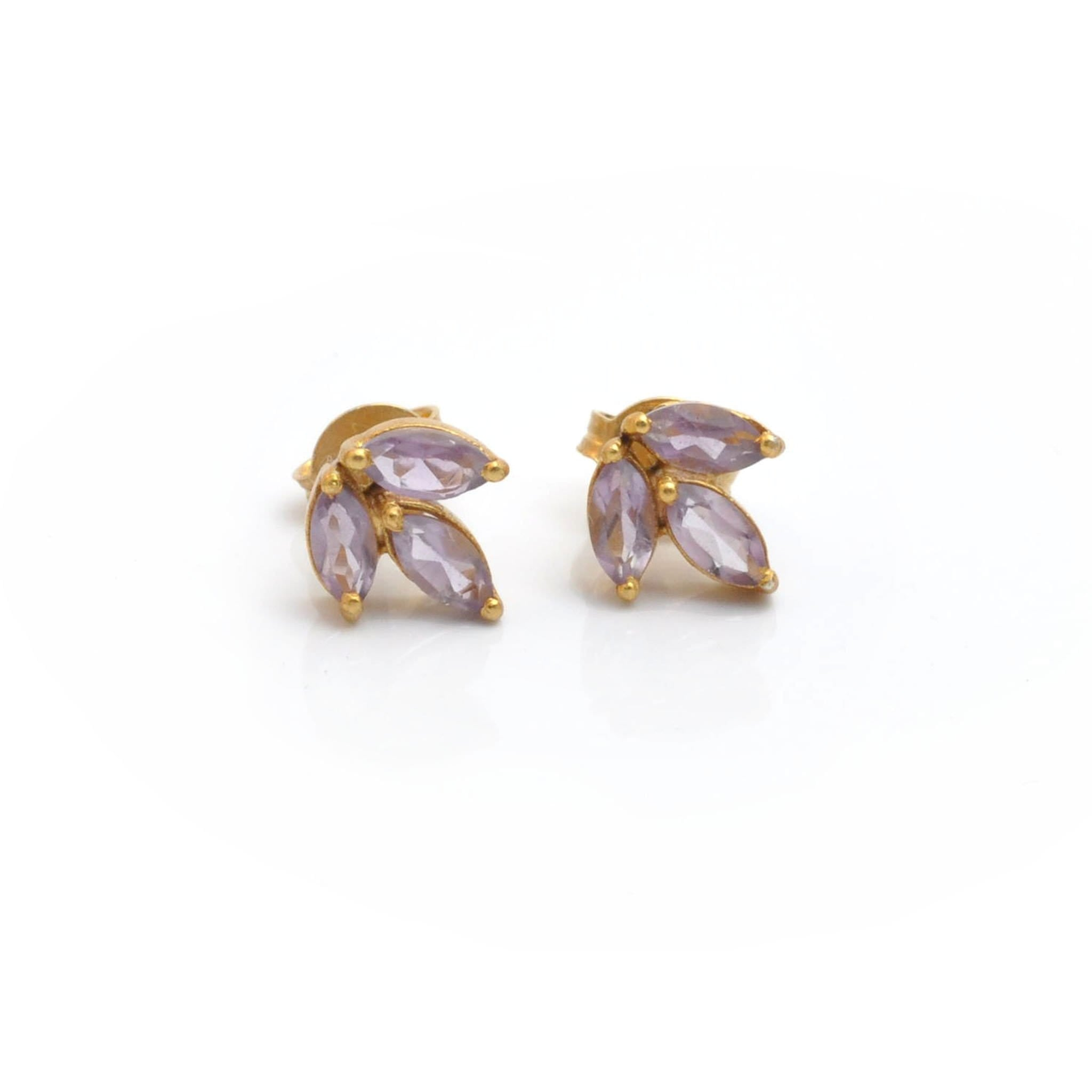 marquise gold stud earrings jewelry in brooke lyst triple sapphire gallery gregson
