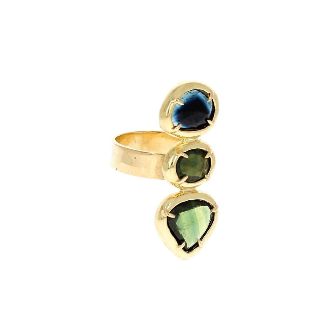 Tourmaline and Sapphire Vertical Statement Ring - Curated Los Angeles