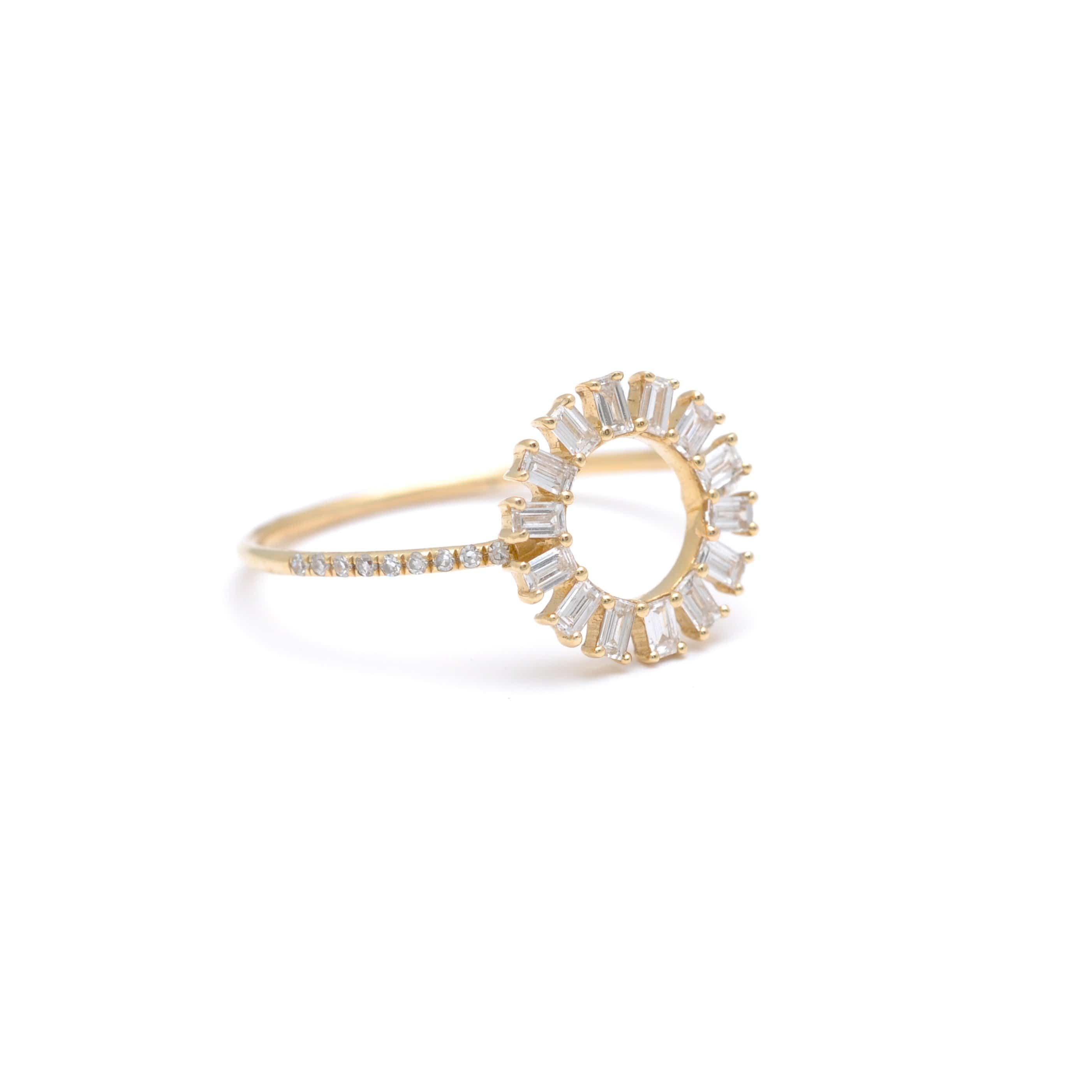 Baguette Diamond Open Circle Ring