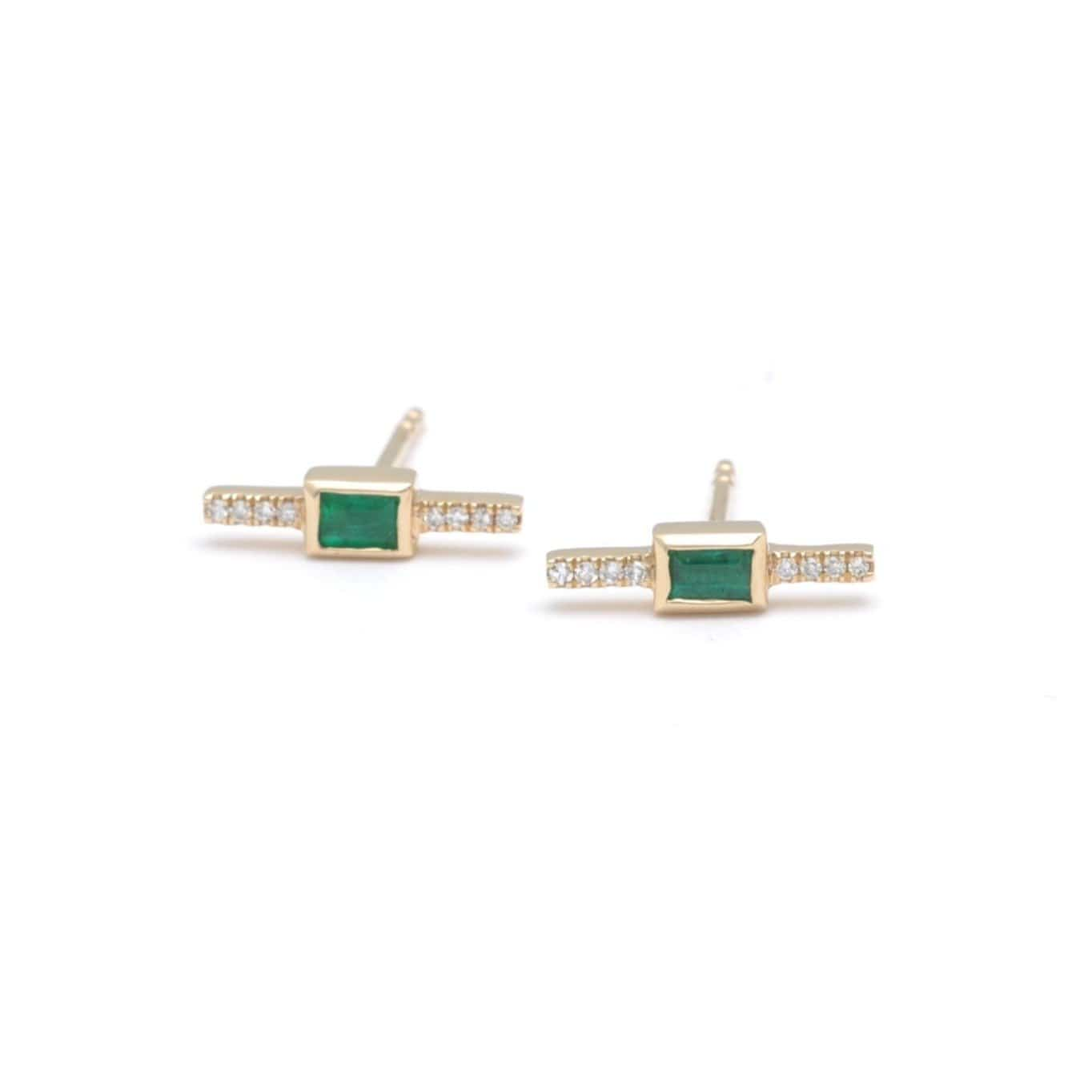 Emerald Pave Bar Stud Earrings