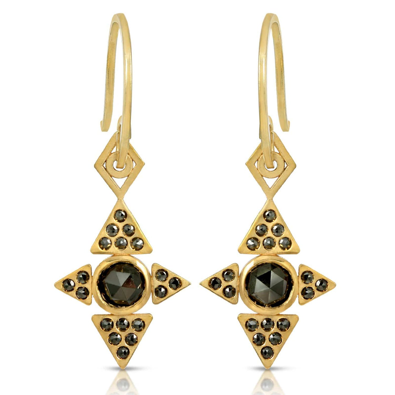 Black Diamond Four Pyramid Yellow Gold Dangle Earrings
