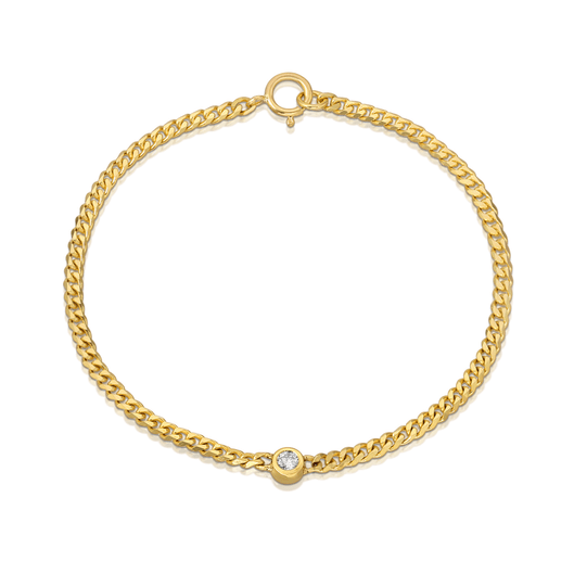 Bezel Center Diamond Curb Link Chain Bracelet