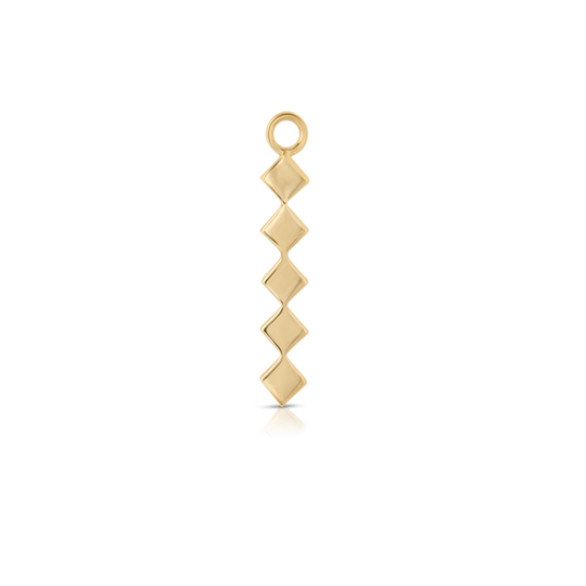 Five Vertical Square Gold Bar Hoop Charm