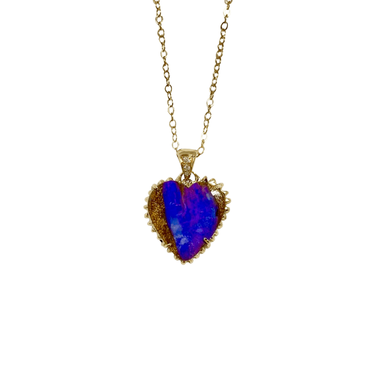 Opal and Diamond Heart Charm