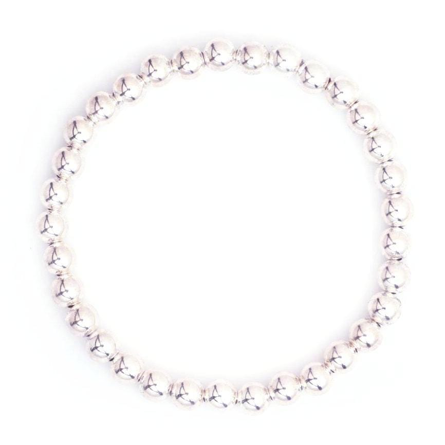 Karen Lazar 5mm Silver Bead Layering Bracelet - Curated Los Angeles