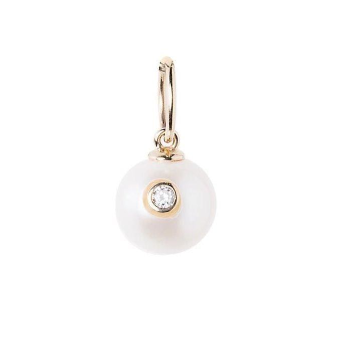 Pearl Diamond Inlay Gold Charm