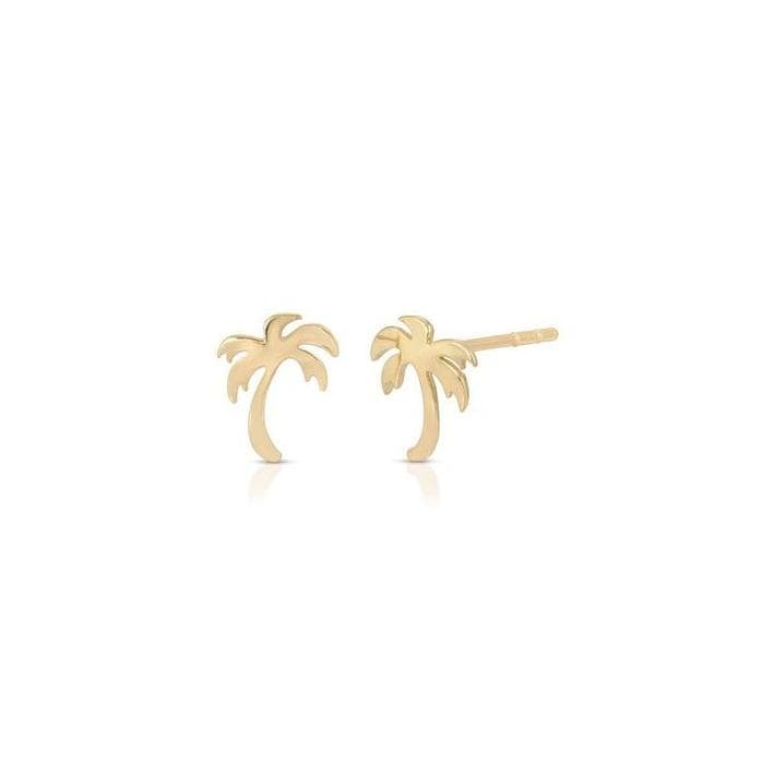 Palm Tree Yellow Gold Studs