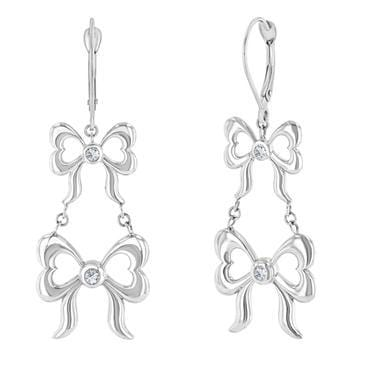 Diamond Double Bow Tiered Earrings