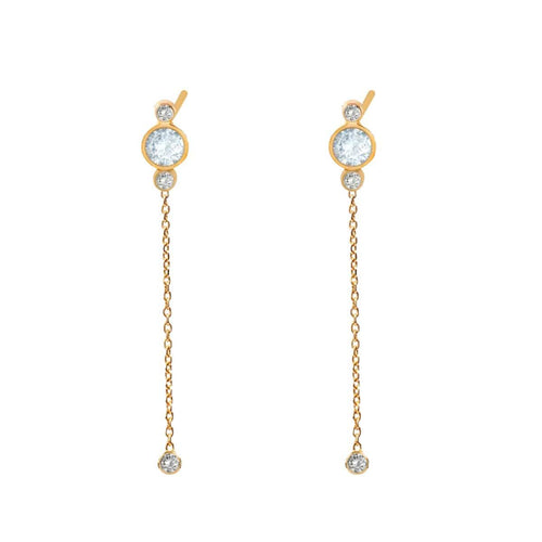 Diamond Aquamarine Long Gold Drop Earrings