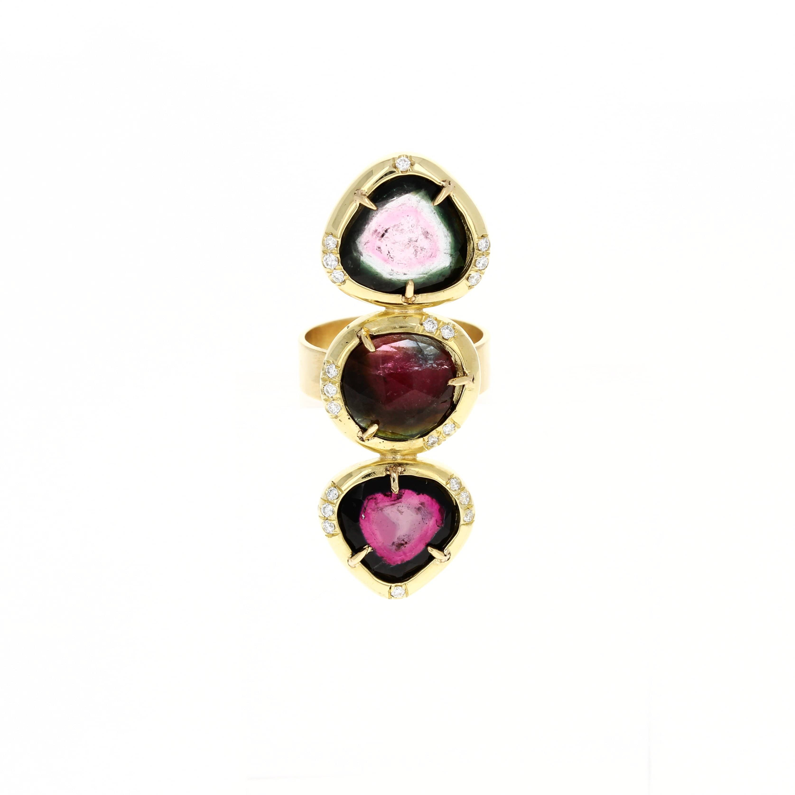 Watermelon Tourmaline Diamond Cocktail Ring - Curated Los Angeles