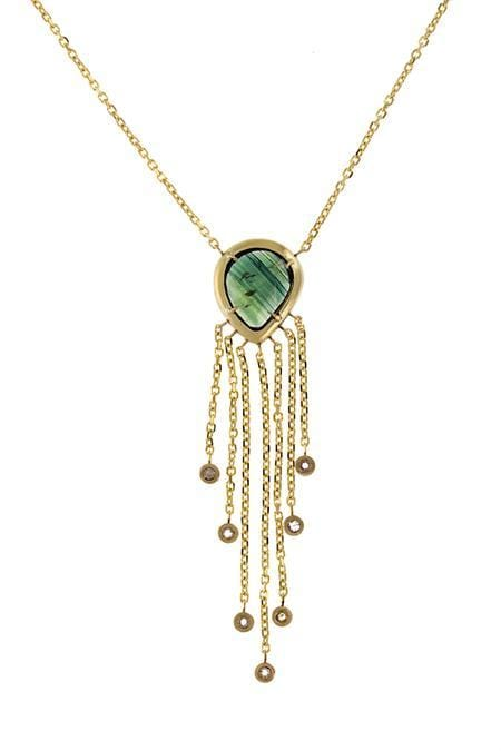 Rosecut Green Sapphire and Diamond Fringe Necklace - Curated Los Angeles
