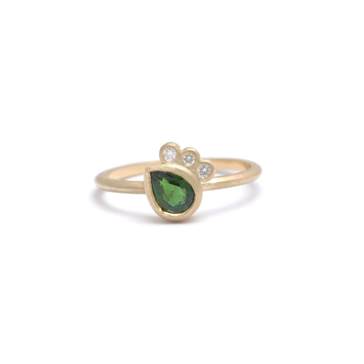 Asymmetrical Green Tourmaline Diamond Ring