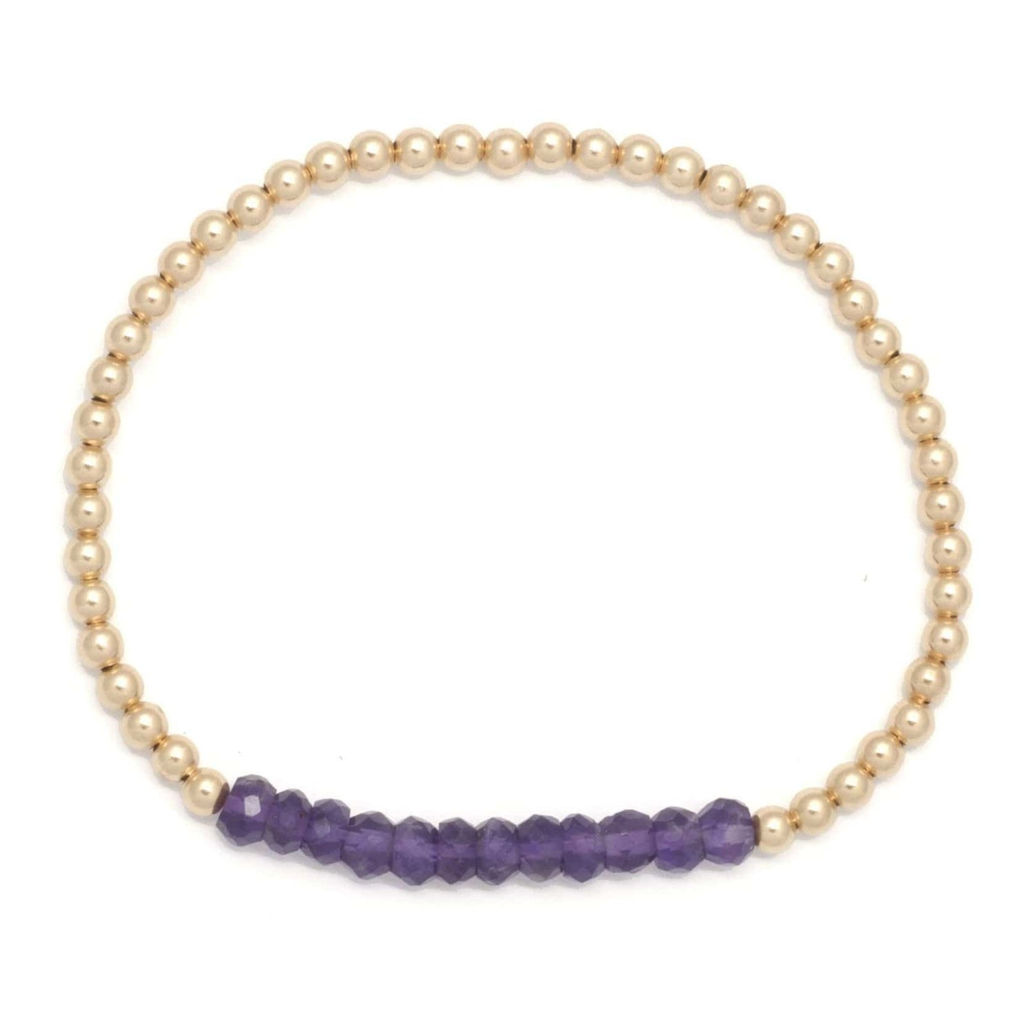 Karen Lazar 3mm Amethyst Gold Bead Layering Bracelet - Curated Los Angeles