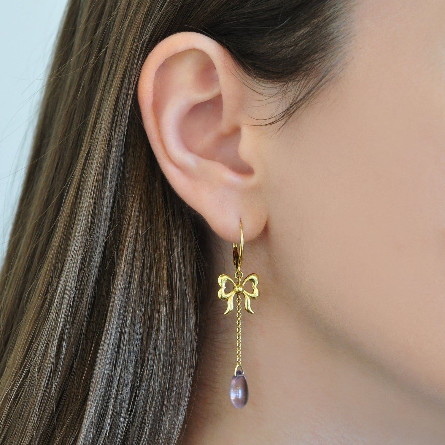 Yellow Gold Bow Smooth Amethyst Drop Earrings Elizabeth Jane Atelier Fine Jewelry
