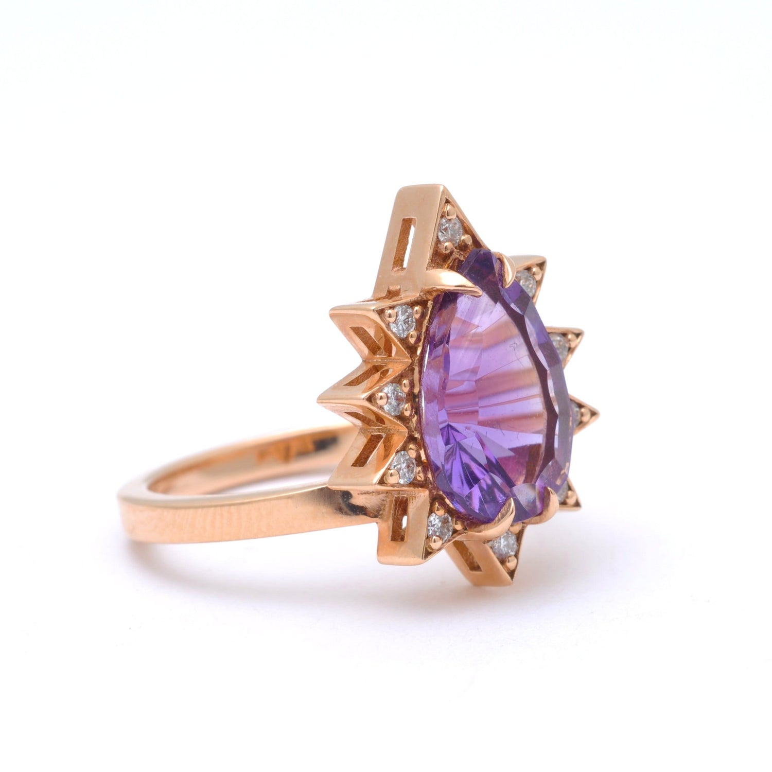 Pear Cut Amethyst Diamond Starburst Rose Gold Ring