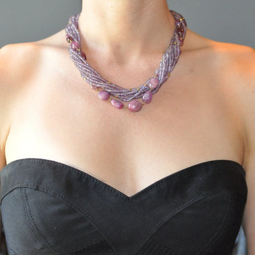 Amethyst and Colored Sapphire Torsade Necklace - Curated Los Angeles