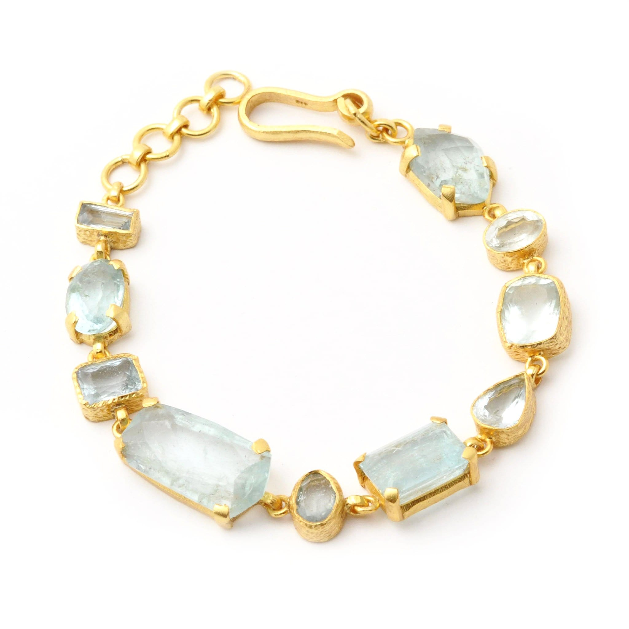 Aquamarine Multi Stone Chain Bracelet - Curated Los Angeles