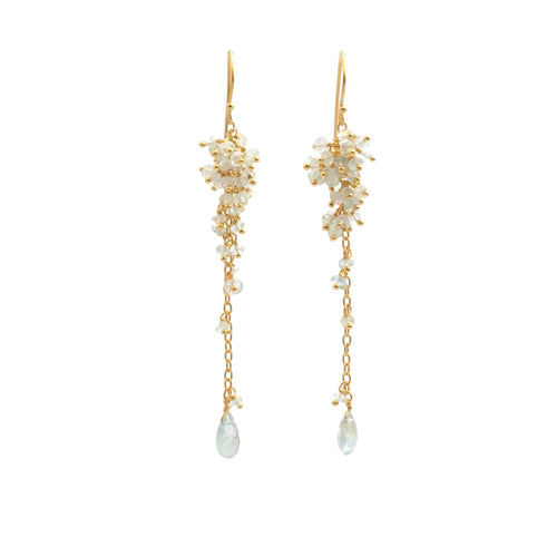 Grape Cluster Aquamarine  Dangle Earrings - Curated Los Angeles