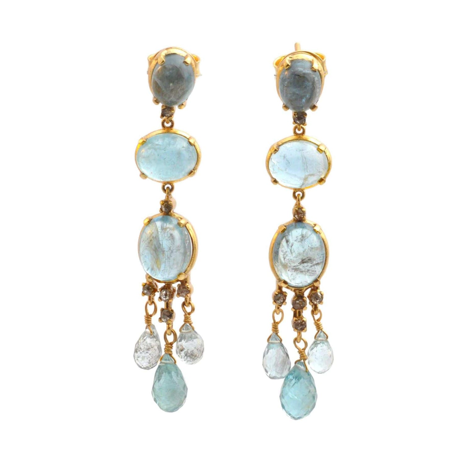 Aquamarine Diamond Chandelier Earrings - Curated Los Angeles