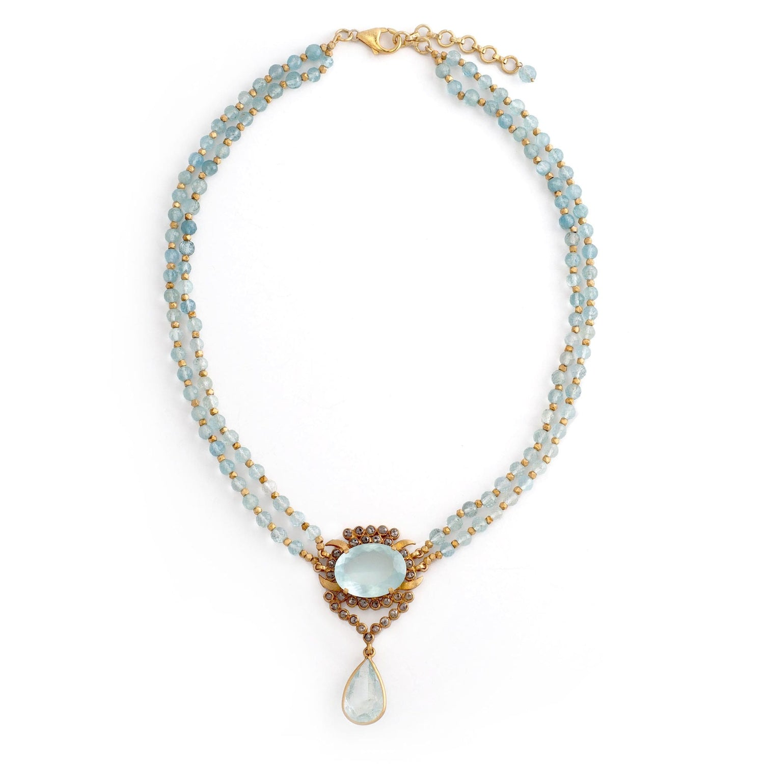 Aquamarine Black Diamond Double Row Necklace - Curated Los Angeles