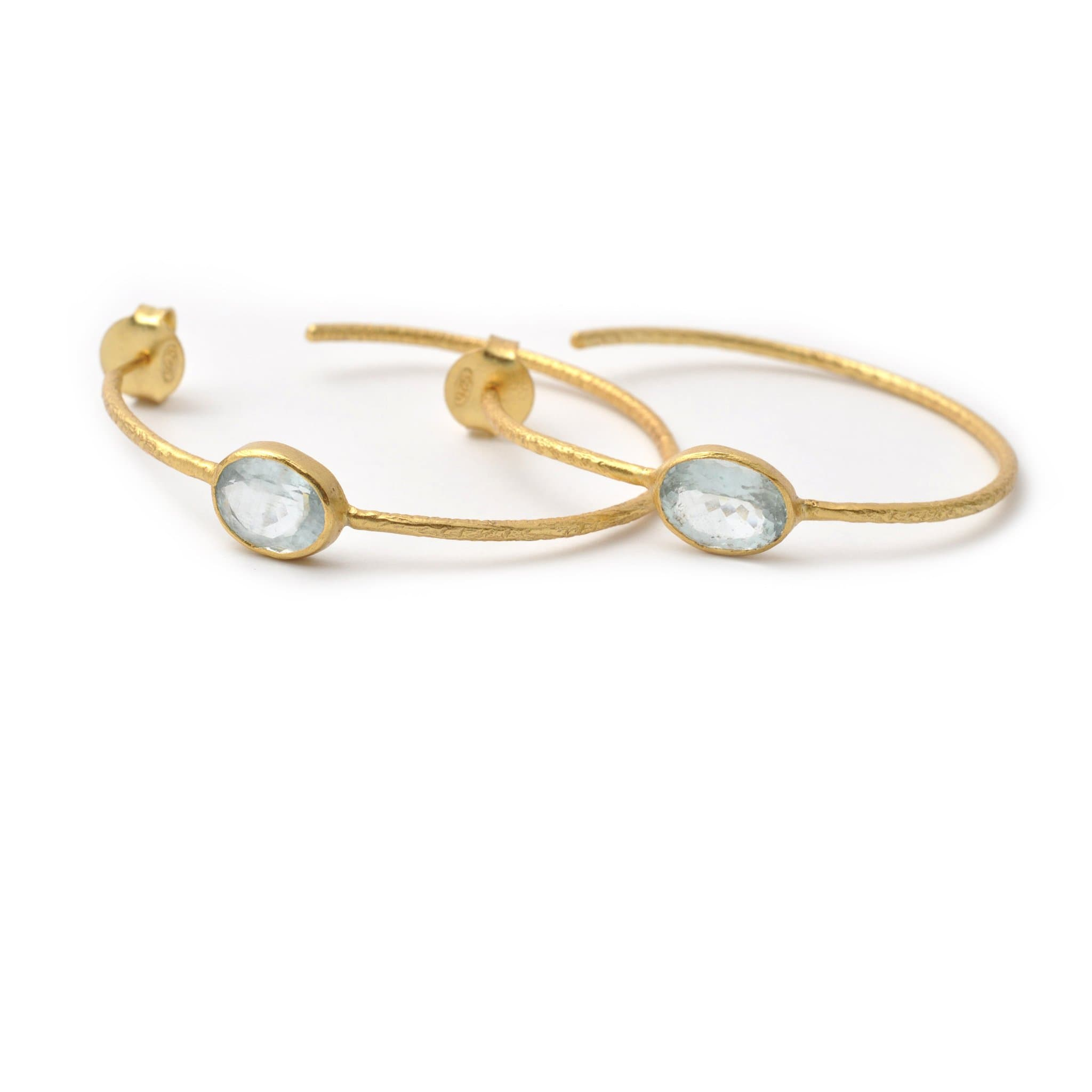 Aquamarine Hoop Earrings - Curated Los Angeles