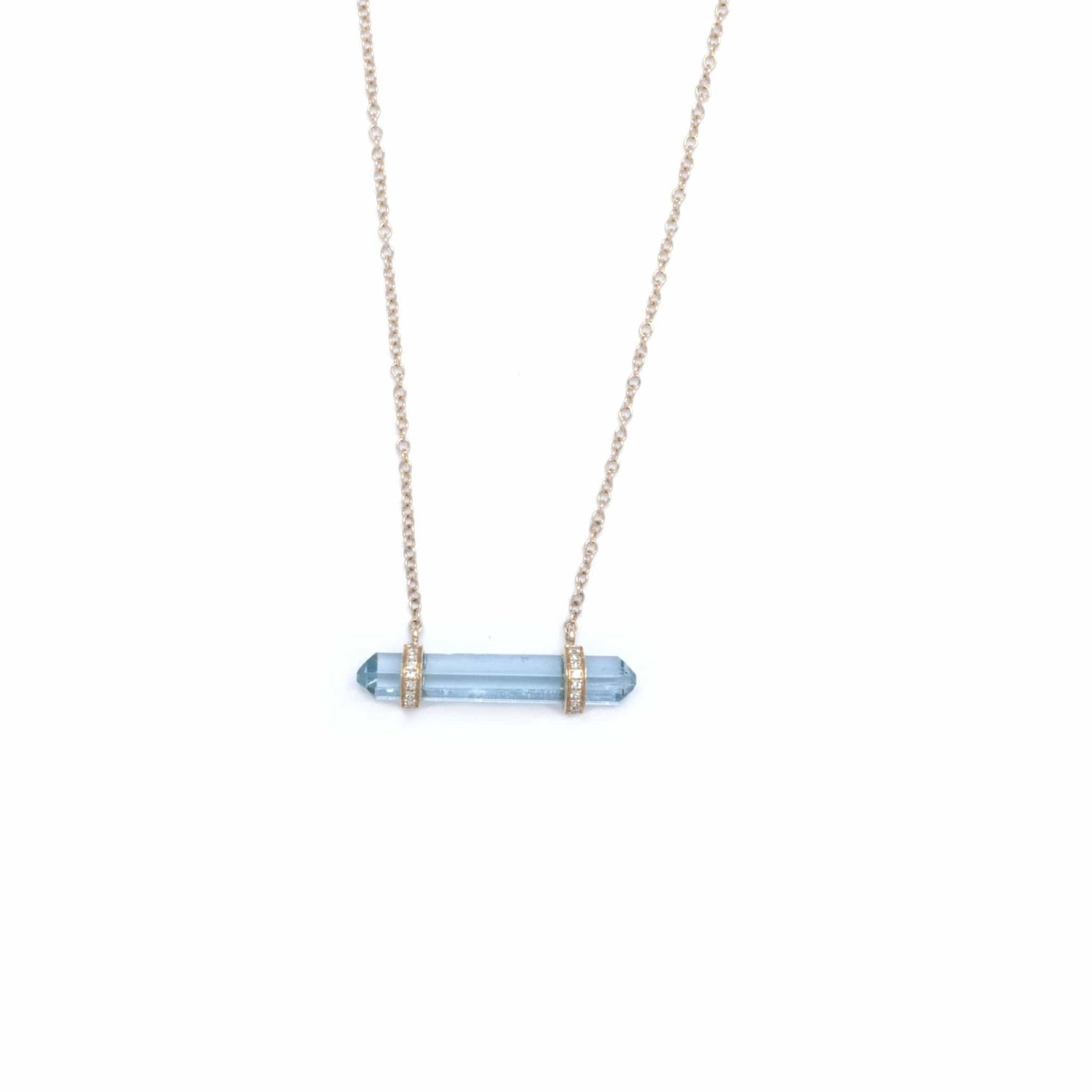 Aquamarine Prism Diamond Necklace - Curated Los Angeles