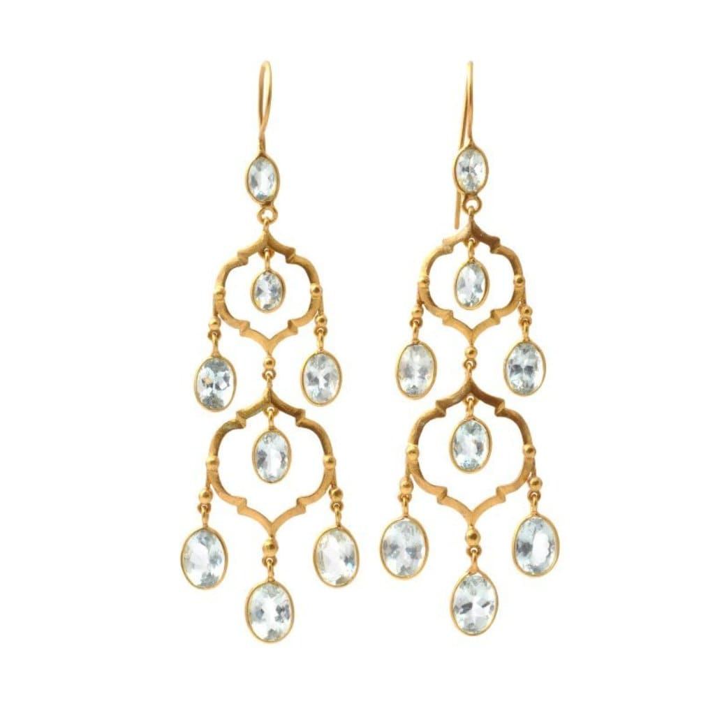Aquamarine Triple Chandelier Silver Earrings - Curated Los Angeles