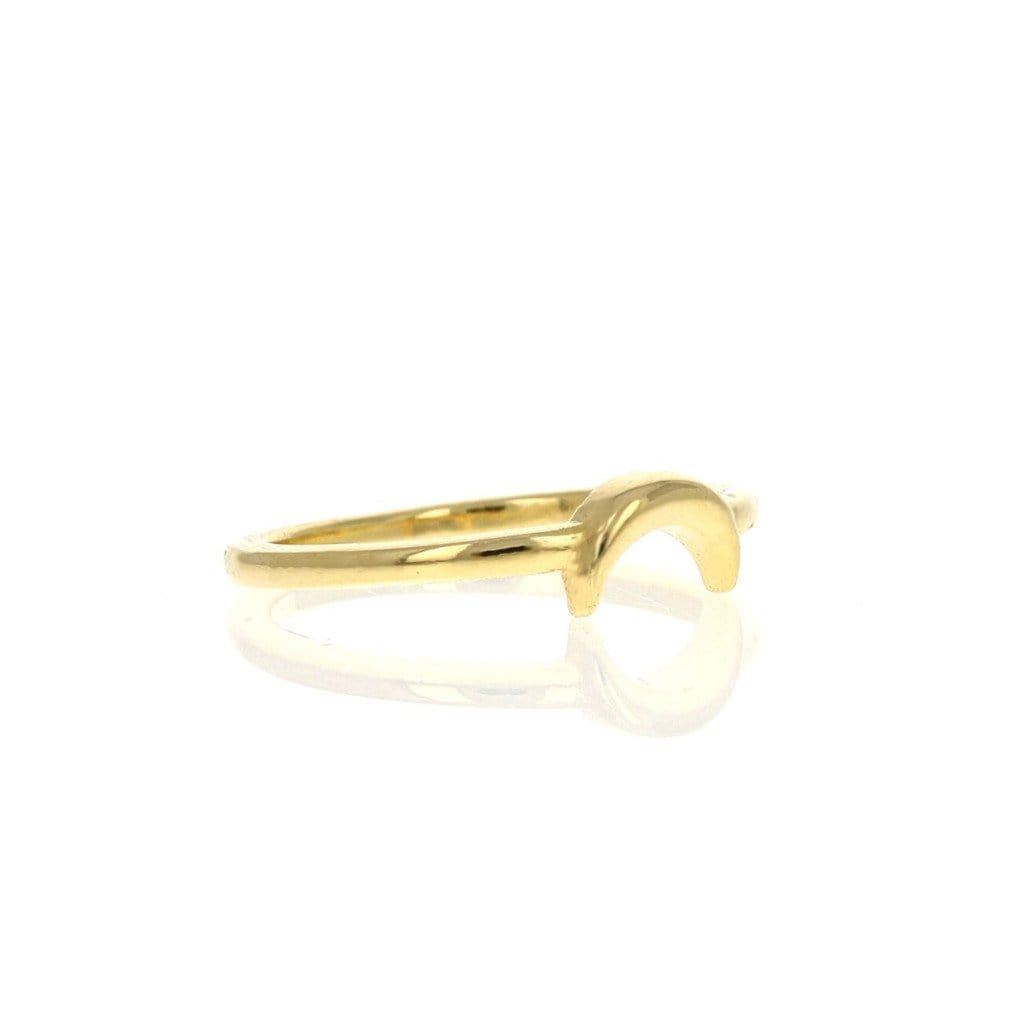 crescent moon ring yellow gold