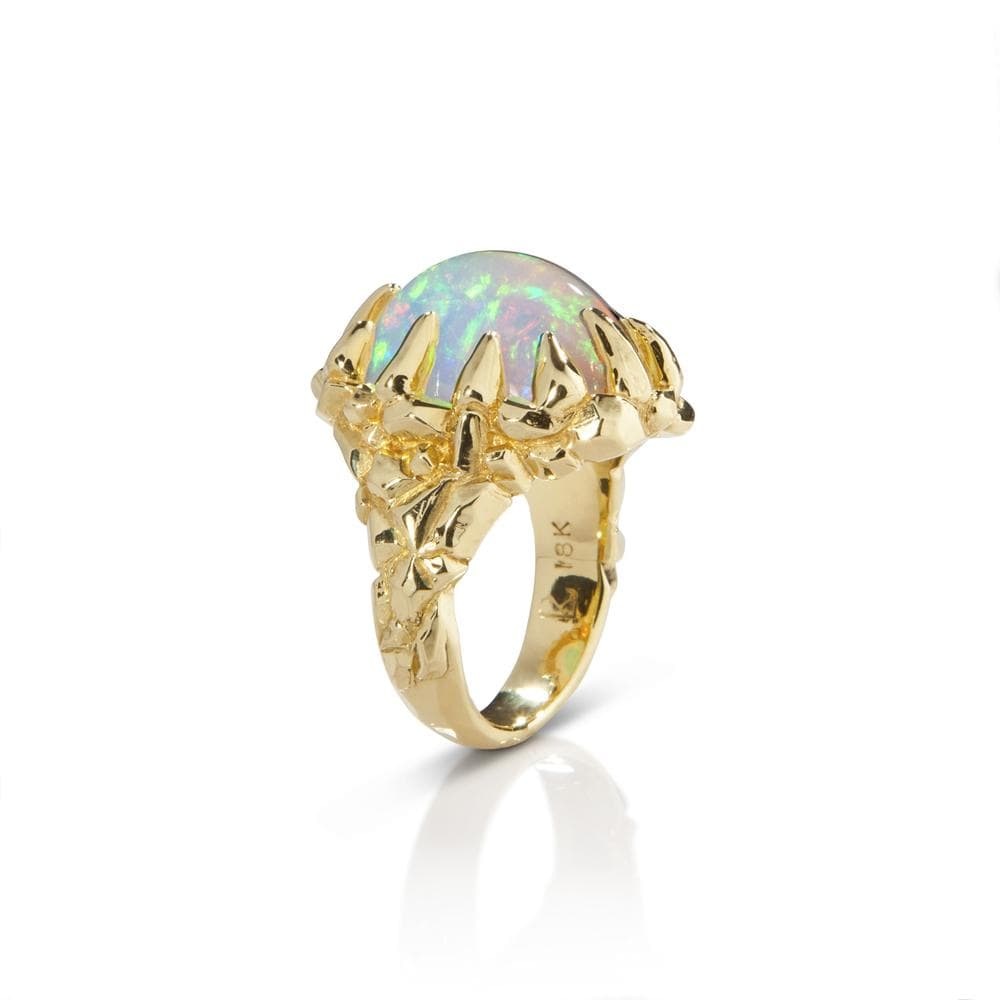 Auroara Borealis Opal & 18k Yellow Gold Ring